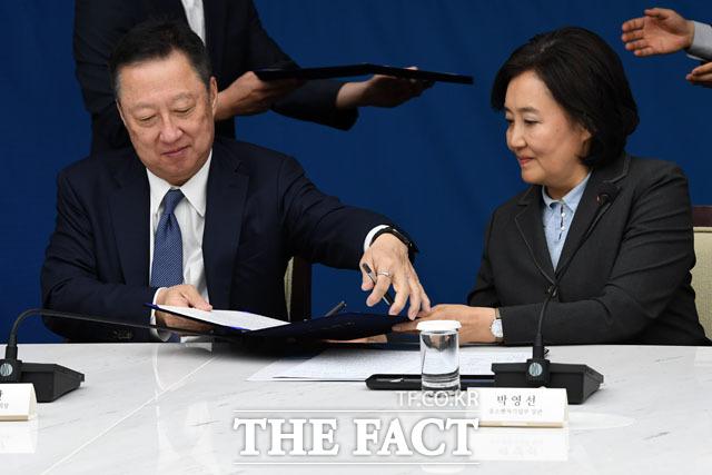 업무협약서에 주고받는 박용만-박영선