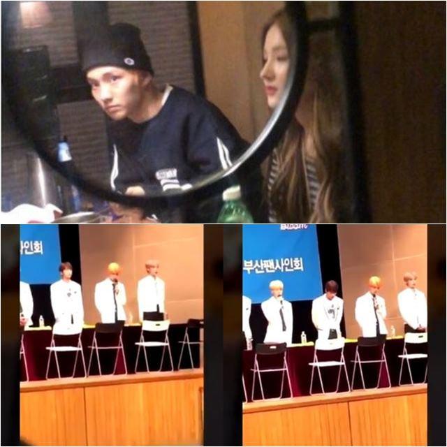 더보이즈 큐와 모모랜드 낸시가 술자리를 가진 사진이 공개됐다.(위) 이에 더보이즈 멤버들은 팬 사인회에서 공식적으로 사과를 전했다. /트위터