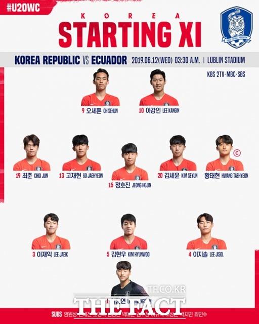 한국의 에콰도르전 선발 라인업./대한축구협회 제공