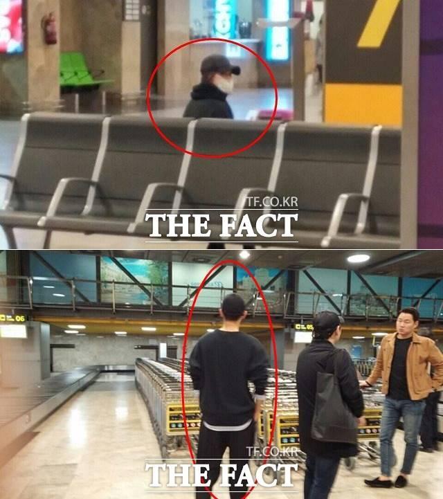 <더팩트> 카메라에 포착된 송혜교(위쪽)와 송중기의 모습. 두 사람이 스페인 마드리드 공항에 있다. /더팩트DB