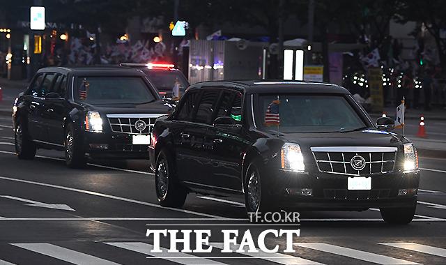 도널드 트럼프 미국 대통령이 탄 방탄 리무진 차량 비스트. /이새롬 기자