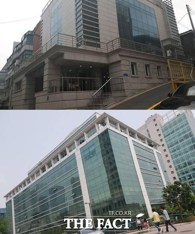 빅히트엔터테인먼트는 사옥을 이전할 때마다 건물의 일부층을 임차해 사용하고 있다. 사진은 위부터 서울 논현동에 위치한 빅히트엔터테인먼트의 구사옥(위)과 서울 삼성동에 위치한 현사옥. /이한림 기자
