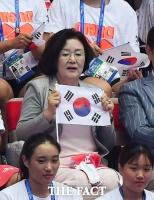 [TF포토] '김서영 응원하는 김정숙 여사'