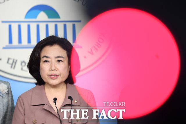 지난 24일 국토교통위원장직 버티기로 당원권 정지 6개월의 징계를 받은 박순자 자유한국당 의원이 25일 국회에서 기자회견을 갖고 나경원 원내대표가 문제라고 비판했다. /국회=남윤호 기자