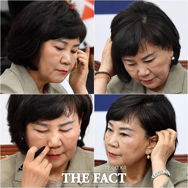모두발언을 준비하며 다소 긴장된 표정의 김순례 최고위원. /남윤호 기자