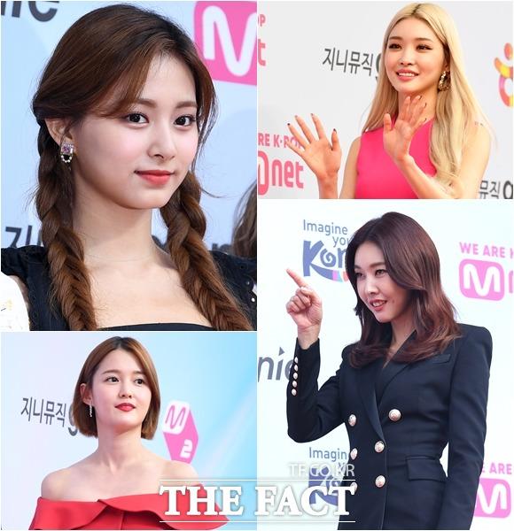쯔위와 청하, 한혜진, 남보라(왼쪽위부터 시계방향)가 1일 오후 서울 송파구 올림픽공원 체조경기장에서 열린 2019 M2 X Genie Music awards 포토월에 참석하고 있다. /임세준 기자