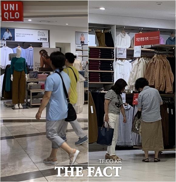 매장을 지나치는 사람들(왼쪽)과 매장에서 제품을 고르는 사람들./이새롬 기자