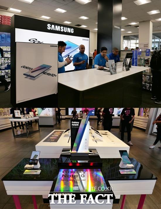 뉴욕 타임스퀘어에 있는 전자제품 판매점 베스트바이(위)와 이동통신사 T모바일 매장 내 갤럭시노트10 모습. /뉴욕=서민지 기자