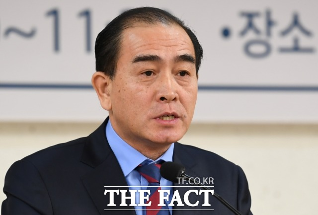 태영호 전 영국 주재 북한 대사관 공사가 탈북민 모자 사망 사건에 대해서 탈북민들에게 편지를 썼다. 태 전 공사가 연설하고 있는 모습. /더팩트 DB