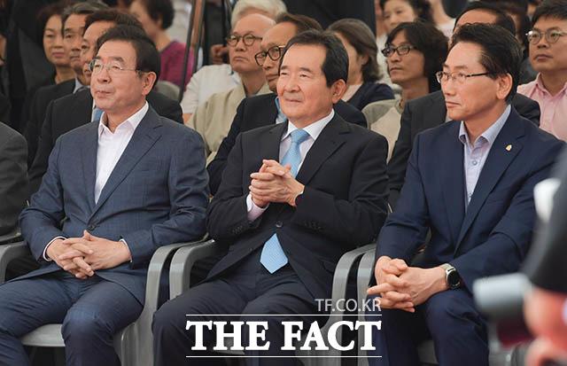 박원순 서울시장과 정세균 전 국회의장, 김영종 종로구청장(왼쪽부터)