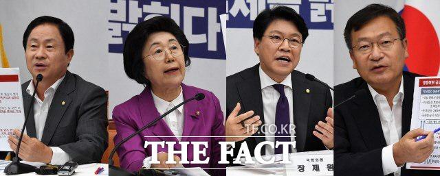 한국당 법사위원인 (왼쪽부터) 주광덕·이은재·장제원·정점식 의원. 지난 3일 열렸던 언론 간담회에서 각종 자료를 근거로 조국 법무부 장관 후보자의 해명을 반박한 한국당은 추가 의혹도 더 드러날 것이라며 자신감을 보였다. /더팩트 DB