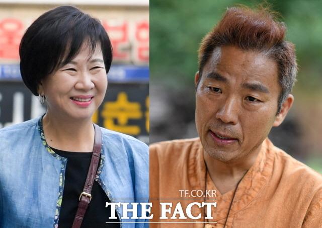 손혜원 무소속 의원(왼쪽)이 개그맨 김철민 씨의 폐암 투병 소식을 듣고 100만 원에 달하는 성금을 전달했다. /김세정·임세준 기자