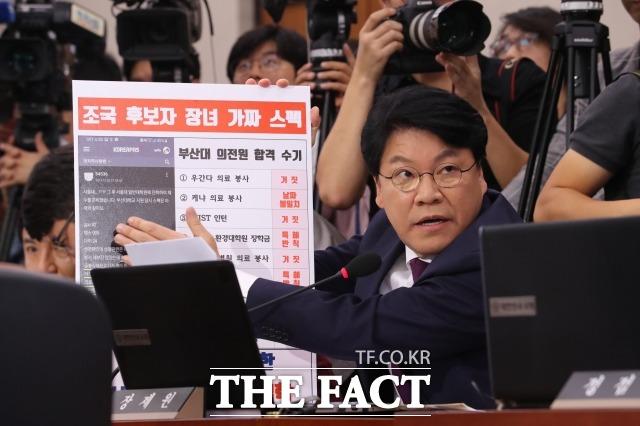 장제원 자유한국당 의원이 6일 조국 법무부 장관 후보자 인사청문회에서 질의하고 있다. /국회=배정한 기자