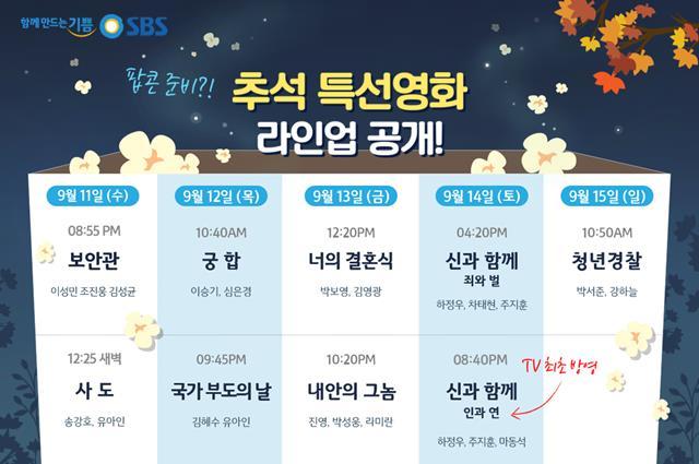 SBS는 추석 연휴 기간동안 8편의 특선영화를 준비했다. /SBS 제공