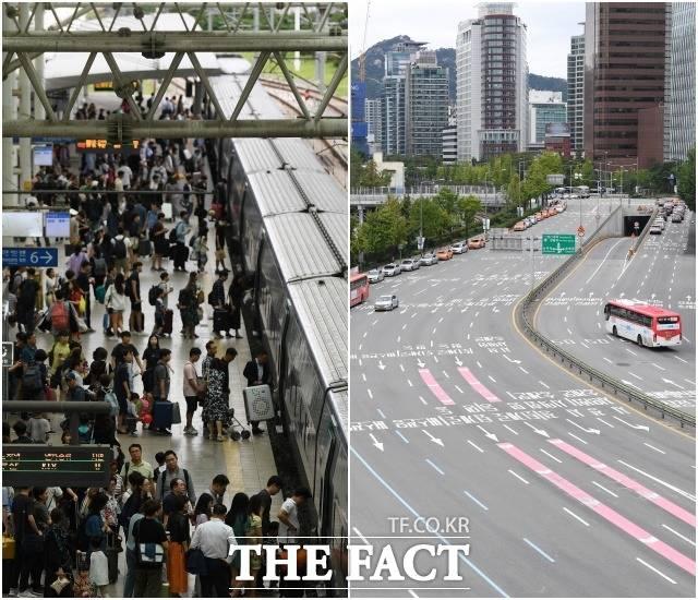 추석 연휴 첫날인 12일 오후 귀성객들로 붐비는 서울역(왼쪽)과 한산한 서울역 앞 도로가 상반된 모습을 보이고 있다.