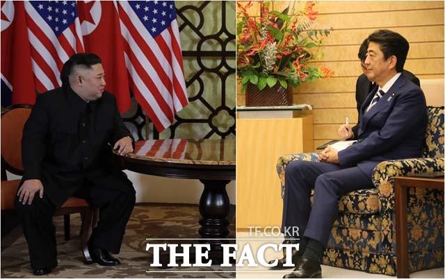 최근 일본의 적극적인 구애에 북일정상회담이 이뤄질지 관심이 쏠리고 있다. 김정은 북한 국무위원장(왼쪽)과 아베 신조 일본 총리(오른쪽)의 모습 /더팩트 DB