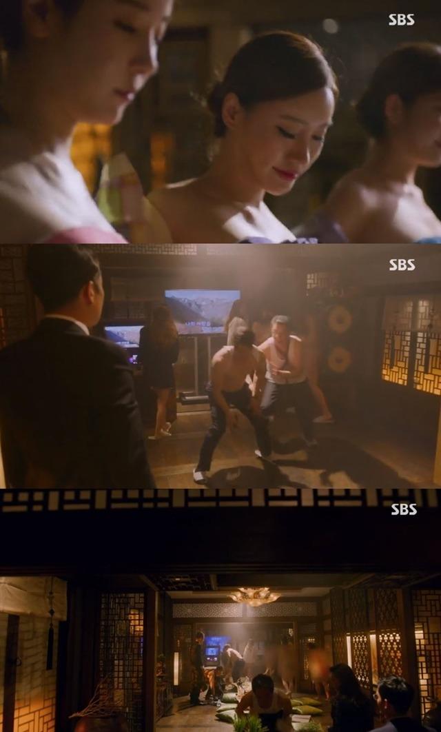 배가본드에서 논란이 된 성 접대 신. /SBS 배가본드 캡처