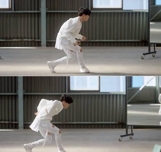 지민은 스포츠브랜드 퓨마 광고에서 현대무용을 선보였다. /퓨마 광고 유튜브 영상 캡처