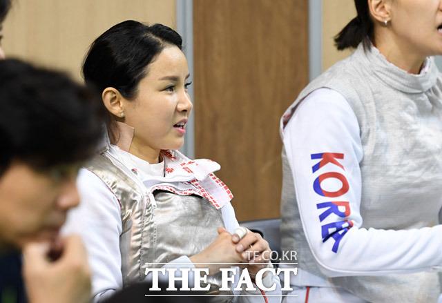 펜싱 플러레 여자일반부 단체전 준결승전에 참석한 남현희 선수