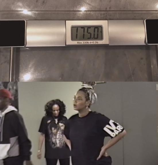 비욘세가 공개한 자신의 몸무게. /비욘세 유튜브 캡처