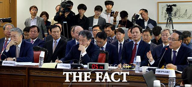 오세정 서울대학교 총장(오른쪽)이 서울대학교에서 진행된 국회 교육위원회 국정감사에 출석해 의원들의 질의에 답하고 있다.  이날 야당 의원들은 조국 법무부 장관 자녀 의혹에 대한 서울대 자체 조사를 요구했다.  /서울대=이덕인 기자