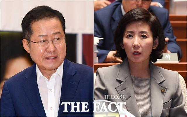 자유한국당 홍준표 전 대표와 나경원 원내대표가 11일