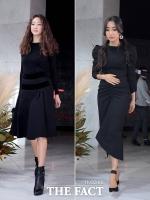 [TF포토] 최여진-문가비, '하객 패션의 정석, 블랙 원피스'
