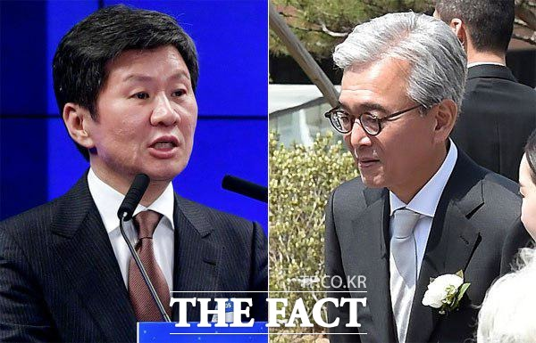 정몽규(왼쪽) HDC그룹 회장과 채형석 애경그룹 총괄부회장이 아시아나항공 인수을 진두지휘한 가운데 승자에게는 우려를, 패자에게는 호재라는 상반된 평가가 이어지고 있다./더팩트 DB