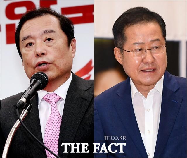 자유한국당 내부에서 인적쇄신 요구가 거센 가운데 내년 총선에서 김병준 전 비상대책위원장(왼쪽)은 험지 출마, 홍준표 전 대표는 마이웨이를 예고했다. /더팩트 DB