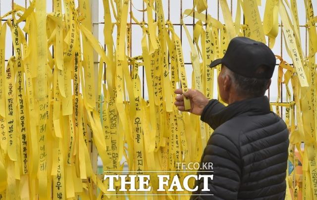 2017년 4월 세월호의 육상 거치가 진행 중인 전남 목포 신항에서 한 시민이 노란 리본을 바라보고 있다. /더팩트DB