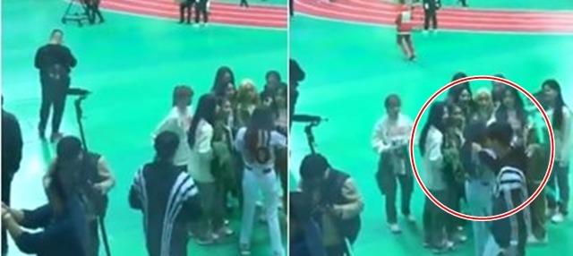 스태프로 추정되는 한 남성이 이달의 소녀 멤버 츄의 머리를 잡아당기는 모습이 찍혀 논란이 됐다. /SNS 캡처