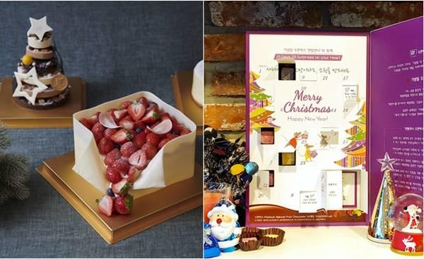 백화점은 호텔 케이크 등 프리미엄 상품을 내놨다. 신세계백화점은 JW메리어트와 손잡고 케이크(왼쪽) 10종을 선보였다. 현대백화점은 선물하기 좋은 달력 초콜릿(오른쪽)을 판매한다. /각사 제공