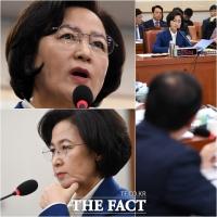 [TF사진관] 추미애 장관 후보자, '한국당과 1억 공방'