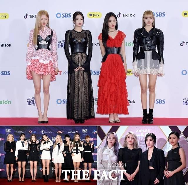 <더팩트> 설문조사 결과로 숨덕하고 싶은 나만의 아이돌 그룹 1위로 블랙핑크, 2위로 트와이스, 마마무가 뽑혔다./ 더팩트DB