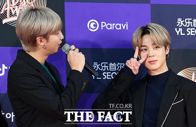 RM(왼쪽)과 지민