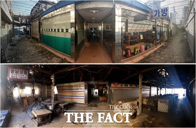 곳곳에 영업을 하는 상점이 보이긴 했지만, 대부분 점포정리 후 재개발을 기다리고 있다.