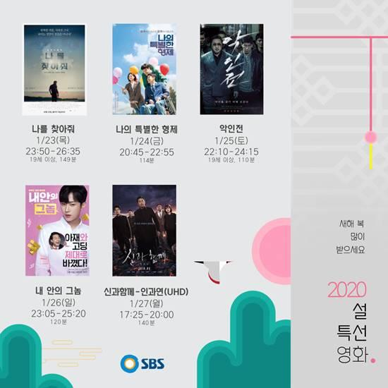 각 방송사가 설 연휴를 맞아 다양한 특선 영화를 편성했다. SBS는 23일부터 27일까지 5편의 영화를 편성했다. /SBS 제공