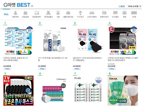 우한 폐렴 확산에 대한 우려가 커지면서 온라인쇼핑을 통해 마스크와 손세정제를 구매하는 소비자들이 늘고 있다. 실제 이베이코리아가 운영하는 G마켓 베스트 상품 1~9위까지가 관련 상품이다. /G마켓 홈페이지 캡처