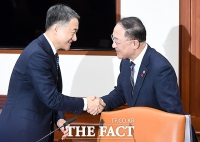 [TF포토] 악수 나누는 박능후 장관과 홍남기 부총리