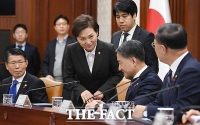 [TF포토] 긴급 경제장관회의 참석한 김현미 장관