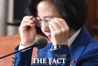 [TF포토] 안경 쓰는 추미애 장관