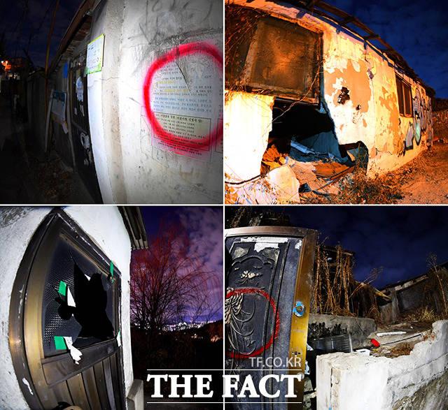 붉은 원으로 표시된 공실 건물은 대부분 문과 벽이 부서져있어 을씨년스러웠다. 불량 청소년들이 찾아와 범죄를 저지르기도 했다고.