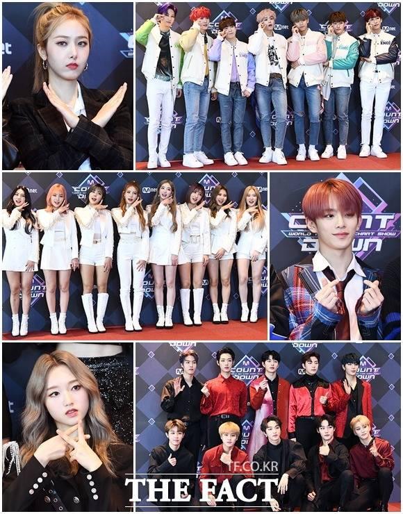 그룹 여자친구의 신비와 이엔오아이, 베리베리의 강민, 골든차일드, 이달의소녀의 고원, ANS(왼쪽 위부터 시계방향)가 6일 오후 서울 마포구 CJ E&M센터에서 열린 Mnet 엠카운트다운 리허설 전 포토타임을 갖고 있다. /이동률 기자