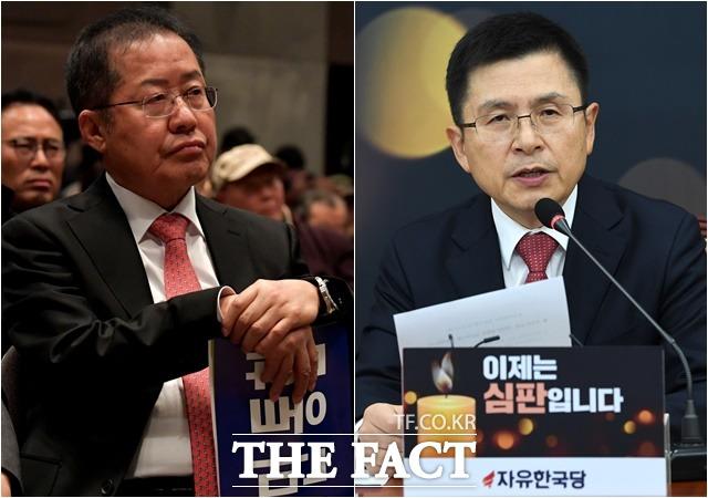홍준표 전 한국당 대표(왼쪽)는 6일 공천 심사와 관련해 현직 대표(황교안)는 꽃신 신겨 양지로 보내고, 전직 대표는 짚신 신겨 컷오프하고 사지로 보낸다면 그 공천이 정당한 공천인가라고 비판했다. /더팩트 DB