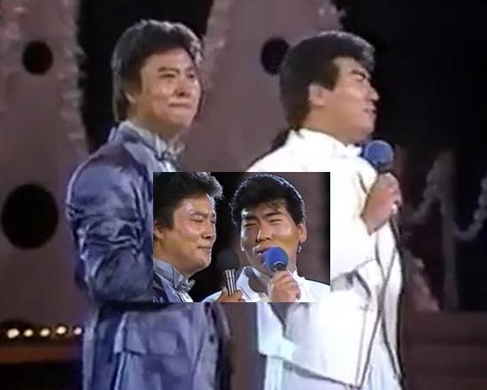 방송가와 가요계에서는 남진-나훈아의 콜라보 무대를 트로트 대세 열기의 마지막 완성으로 보고 있다. 사진은 남진 나훈아가 30여년전 나란히 출연해 라이벌 우정을 과시한 KBS2 스타데이트(87년 방송) 한 장면. /KBS 영상자료