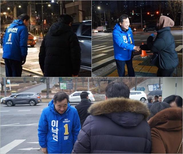 21대 총선에서 서울 종로에 출마하는 이낙연 전 총리가 12일 새벽부터 나서 지역민에게 출근길 인사를 하고 있다. /이 전 총리 페이스북