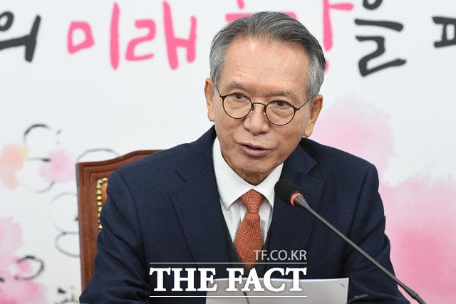 김형오 미래통합당 공천관리위원장은 19일 이혜훈 컷오프설에 대해 어제부로 통합당의 당원이 됐는데, 어떻게 컷오프를 하겠는가라고 부인했다. /남윤호 기자