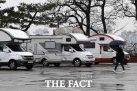 [TF포토] 한양대, '임시 격리시설' 캠핑카 설치