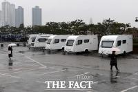 [TF포토] 코로나19 확산 방지, 캠핑카 준비한 한양대