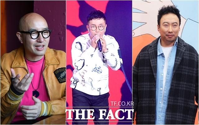 방송인 홍석천, 가수 조장혁, 방송인 박명수(왼쪽부터)는 코로나19 관련 정부 대응에 비판했다. /더팩트DB
